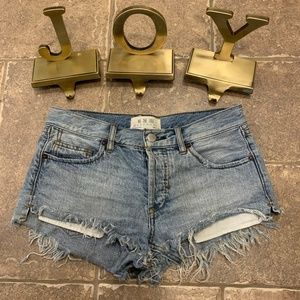 Free People Distressed Button Fly Jeans Shorts